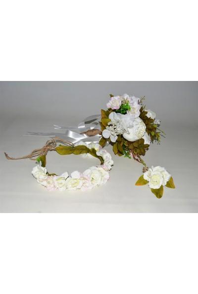 Çeyizci Kar Gelin Buketi Gelin Tacı Ve Yaka Çiçeği (Özel Tasarım)
