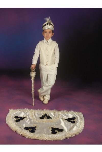 Glory Tekstil Sünnet Kıyafeti Çınar Model Krem Rengi-Lacivert