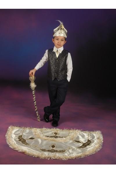 Glory Tekstil Sünnet Kıyafeti Prens Model Krem Rengi-Lacivert