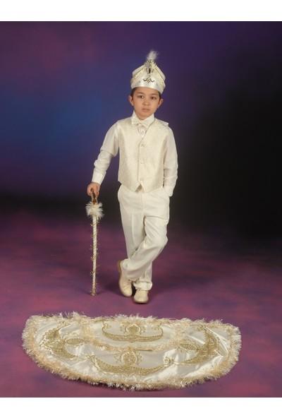 Glory Tekstil Sünnet Kıyafeti Prens Model Krem Rengi-Lame