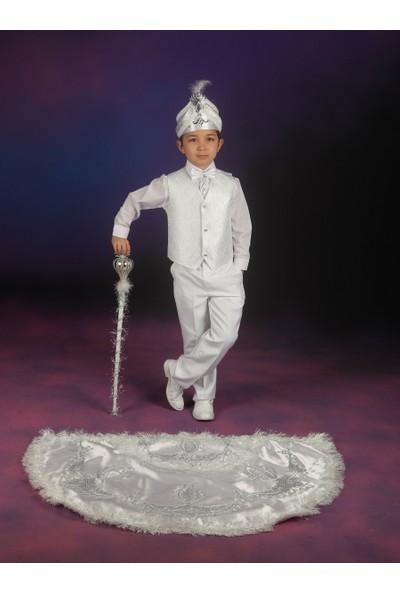 Glory Tekstil Sünnet Kıyafeti Prens Model Beyaz-Gümüş