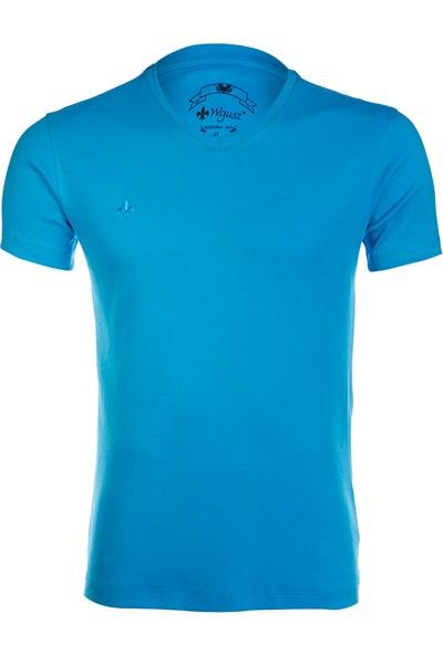 Wgust V Yaka Erkek T-Shirt Turkuaz