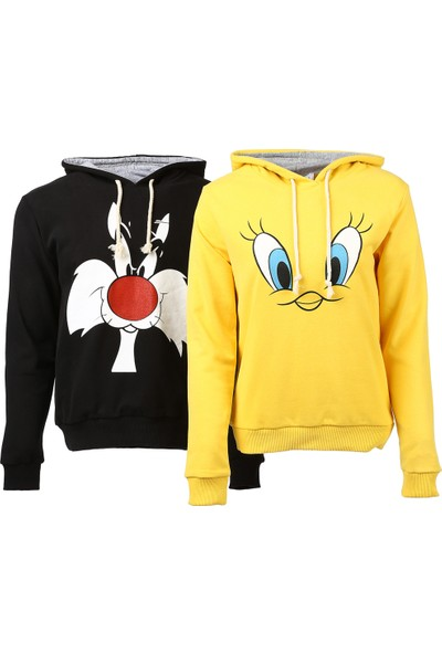 Bonalodi Slyvester Tweety Kapüşonlu Sevgili Çift Sweatshirt