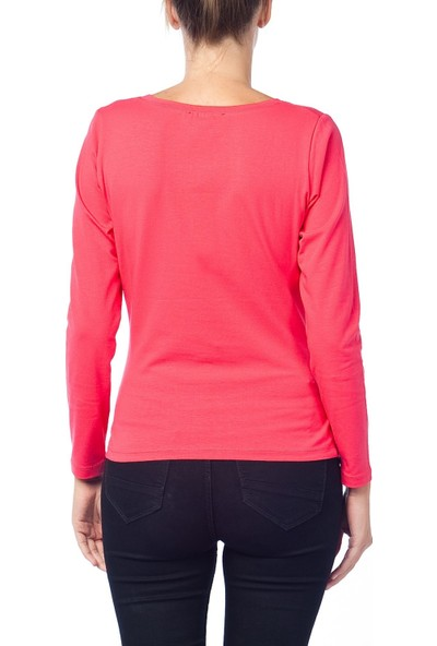 Gör&Sin Pencereden Bakan Uzun Kollu Hamile T-Shirt Nar Çiçeği