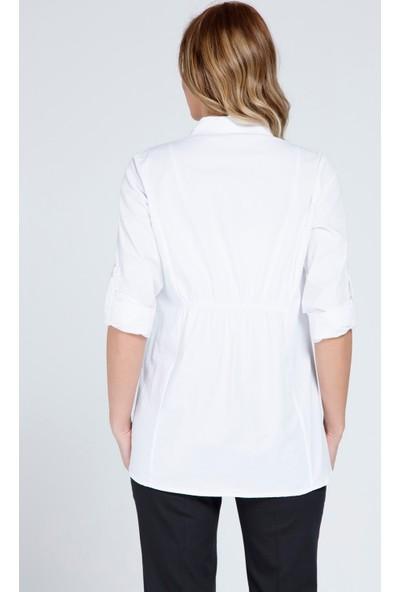 Gör&Sin Hamile Uzun Kol Gömlek Beyaz