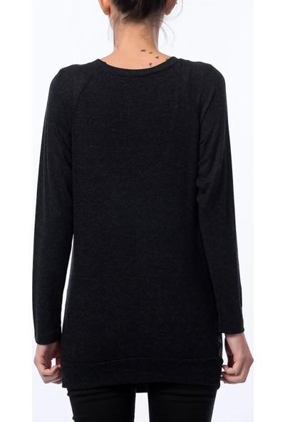 Gör&Sin Hamile Harf Desenli Sweatshirt Siyah-Beyaz