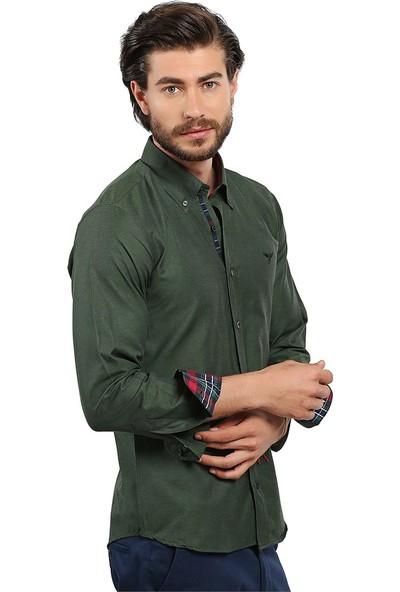 Tudors Dar Kesim Gömlek Yeşil Samra
