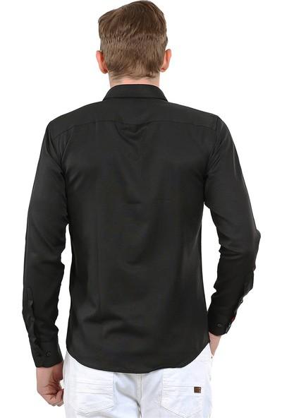 Tudors Dar Kesim Gömlek Siyah Samra