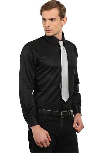 Tudors Klasık Fit Gömlek Siyah Dımı Dottı