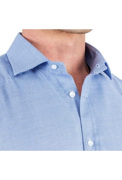 Tudors Dar Kesim Mavi %100 Pamuk Leke Tutmaz Gömlek