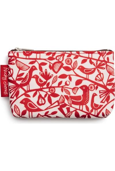Nicky James Doves Red Koton Cüzdan - Kırmızı Güvercinler