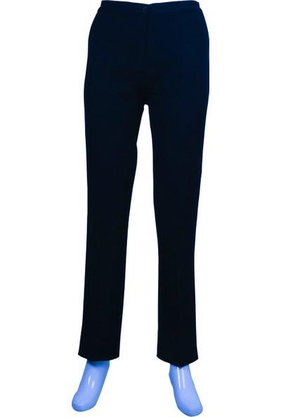 Ruşetül Bayan Büyük Beden Yüksek Bel Kumaş Pantolon Lacivert