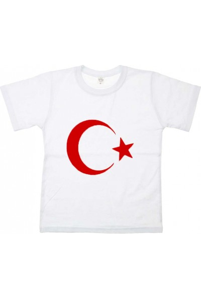 Modakids Unisex Çocuk Türk Bayrak Baskılı Beyaz T-Shirt 019-1925-027