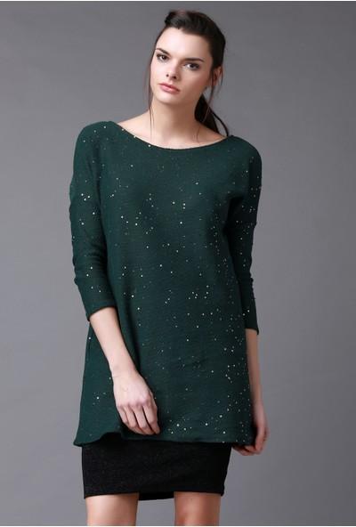 Quincey Yeşil Pırıltılı Tunik Elbise