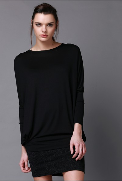 Quincey Siyah Viskon Tunik Elbise