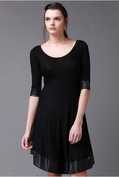 Quincey Siyah Viskon Elbise