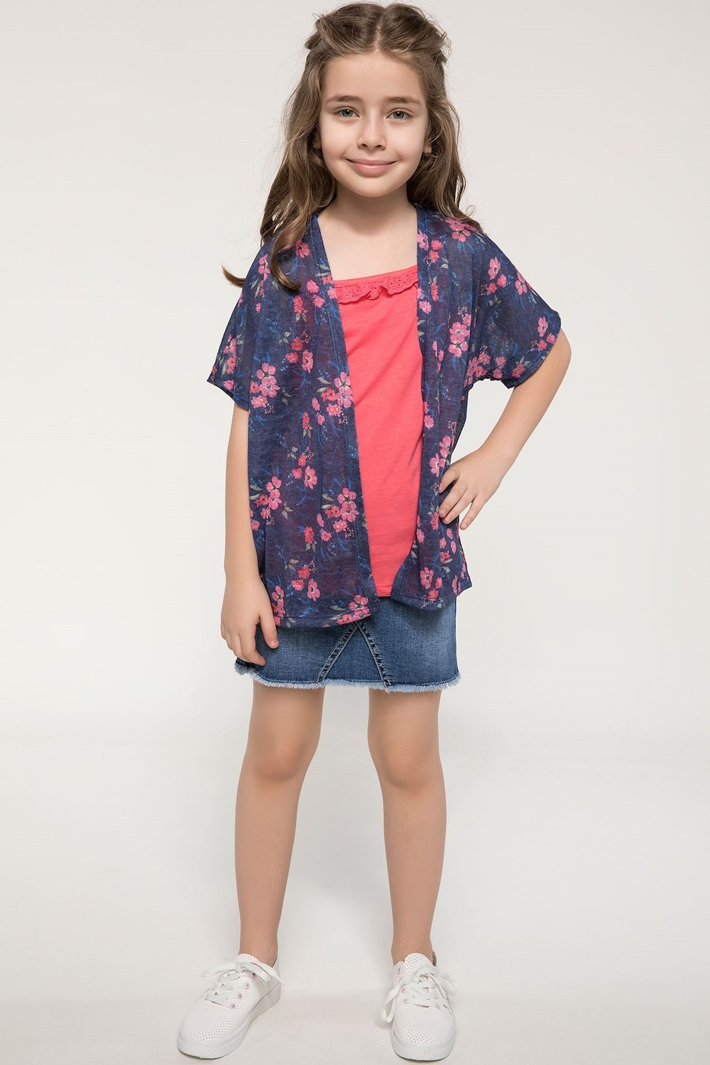 DeFacto Floral Cardigan and Top for Girls