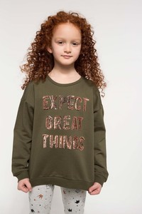 Defacto Girl's Sequin Detail Double Sided Sweatshirts