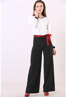 Sateen Kadın 5004 Beli Bağcıklı Pantolon Siyah