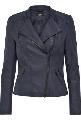 Only Kadın 15102997 Ava Faux Leather Biker Otw Noos Ceket Koyu Lacivert