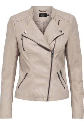 Only Kadın 15102997 Ava Faux Leather Biker Otw Noos Ceket Pure Cashmere