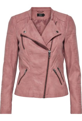 Only Kadın 15102997 Ava Faux Leather Biker Otw Noos Ceket Ash Rose