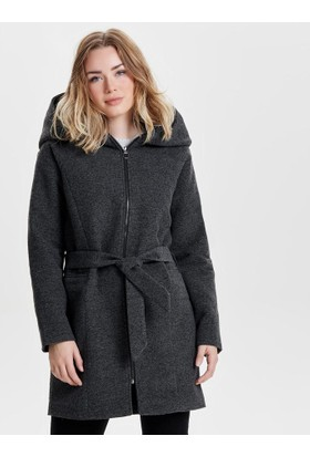 Only Kadın 15137929 Onlcelina Oversized Hooded Coat Otw Kaban Koyu Gri Melanj