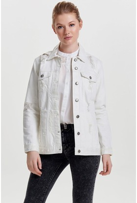 Only Kadın 15148384 Eva Ls Destroy Jacket Akm Ceket White Denim