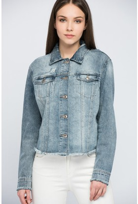 Only Kadın 15151677 Julie Emb Jacket Bj11446 Ceket Light Blue Denim