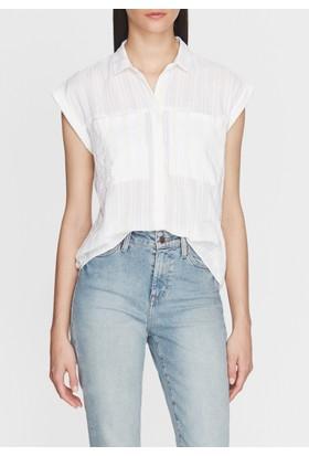 Mavi Kadın Sarı Çizgili Beyaz Gömlek