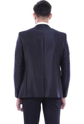 2567d7895faf3 ... Wessi Erkek Sivri Yaka Yelekli Siyah Damatlık Takım Elbise ...