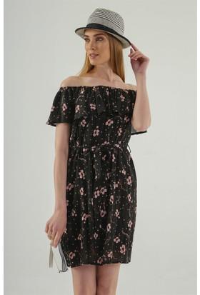 Jument 6250 Pudra Çiçek Elbise