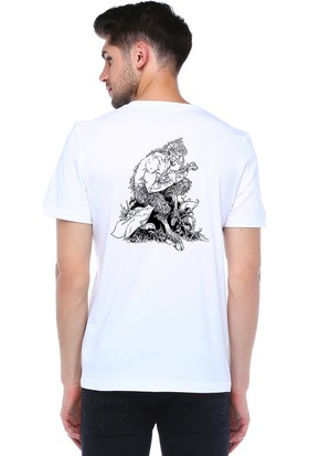 Mumu Tasarım Sırt Baskılı Bisiklet Yaka T-Shirt
