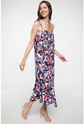 Defacto Asimetrik Kesim Çiçek Desenli Askılı Elbise