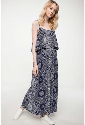 Defacto Askılı Desenli Elbise