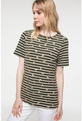 Defacto Baskı Detaylı Çizgili T-Shirt