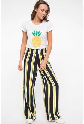 Defacto Bel Lastik Detaylı Çizgili Pantolon