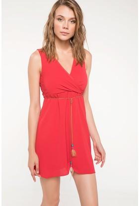 Defacto Beli Büzgü Detaylı Anvelop Elbise