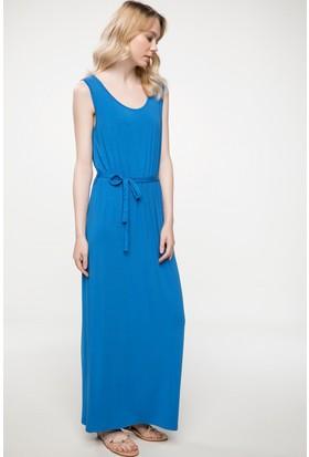 Defacto Beli Kuşak Detaylı Kolsuz Uzun Elbise