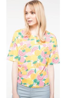 Defacto Bel Ucu Lastikli Meyve Desenli T-Shirt