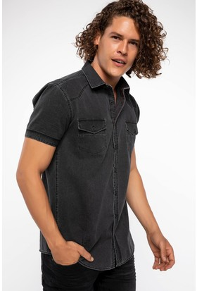 Defacto Cep Detaylı Denim Gömlek