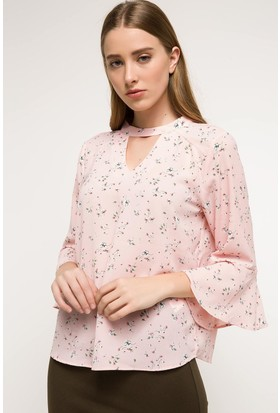 Defacto Choker Yaka Detaylı Desenli Bluz
