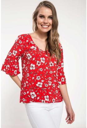 Defacto Çiçek Desenli Kolları Volan Detaylı Bluz