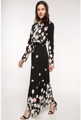 Defacto Çiçek Desenli Uzun Elbise