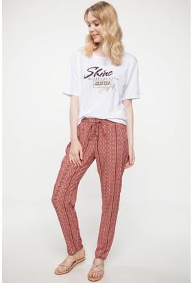Defacto Elastik Bel Bağcık Detaylı Desenli Pantolon