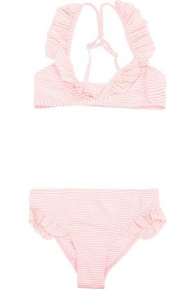 Defacto Genç Kız Fırfır Detaylı Çizgili Bikini
