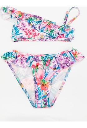 Defacto Genç Kız Fırfır Detaylı Desenli Bikini