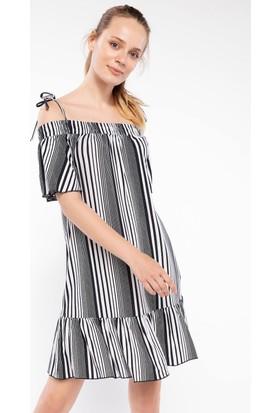 Defacto Fırfır Detaylı Çizgili Elbise