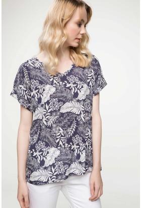 Defacto Floral Desenli Bluz