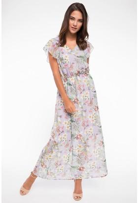 Defacto Floral Desenli Şifon Elbise